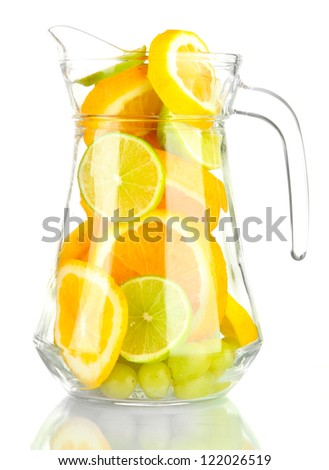 transparent jar with citrus fruits, isolated on white