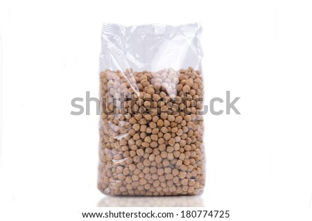 Transparent large chick-pea beans packet isolated on white - stock photo