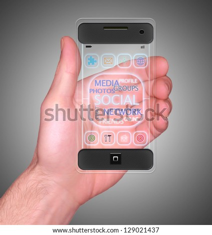 Transparent Mobile Smart Phone in man's Hand Social Media communication device new Digital