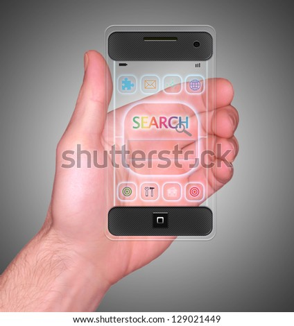 Transparent Mobile Smart Phone in man's Hand with Search on screen new Digital Technology concept - stock photo
