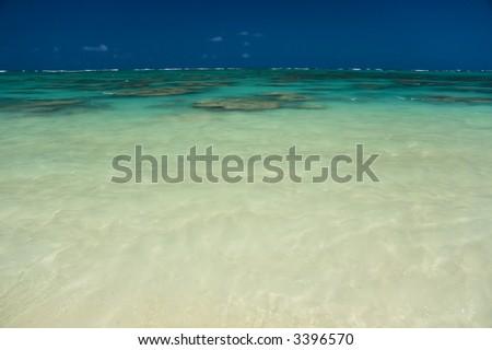 transparent ocean with reef below - stock photo