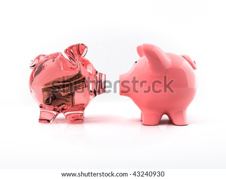 Transparent piggy bank with bill - stock photo