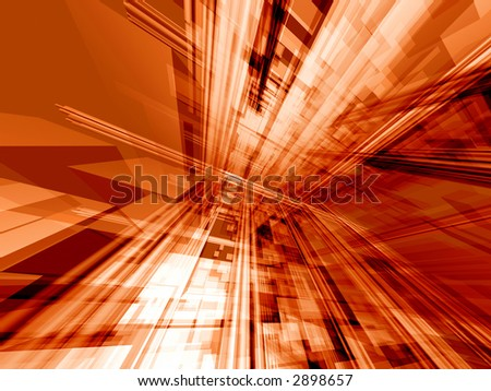 Transparent pipes and block in dynamic perspective - computer generated background - stock photo