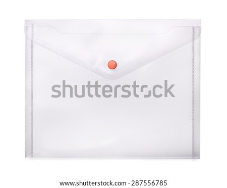 Transparent plastic envelope isolated on white