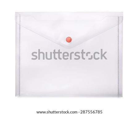 Transparent plastic envelope isolated on white - stock photo