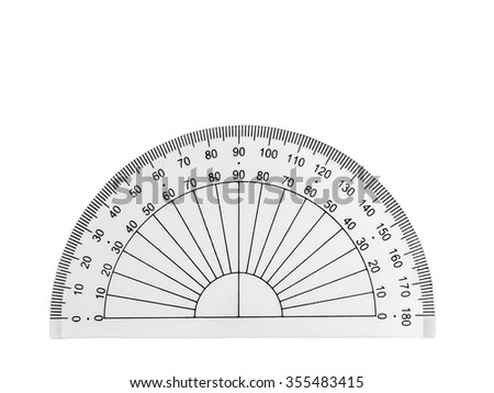 Transparent plastic protractor isolated on a white background - stock photo