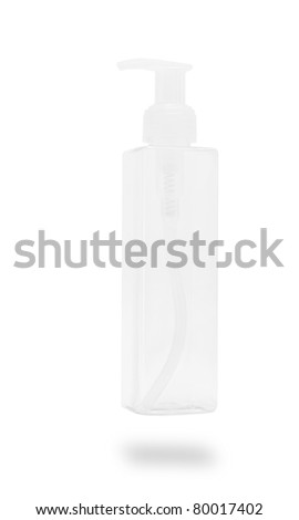 transparent plastic pump bottle, cosmetic container - stock photo