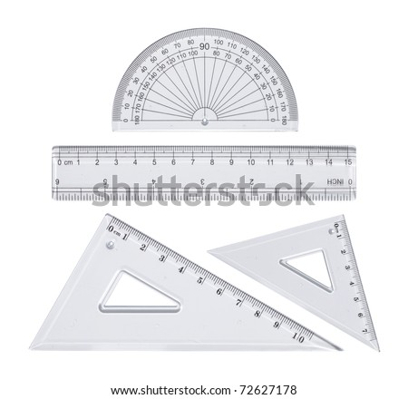 Transparent plastic rulers isolated on white - stock photo