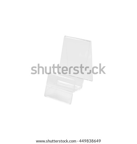 Transparent plastic stand on isolated background with clipping path. Blank product shelf for showing note. - stock photo