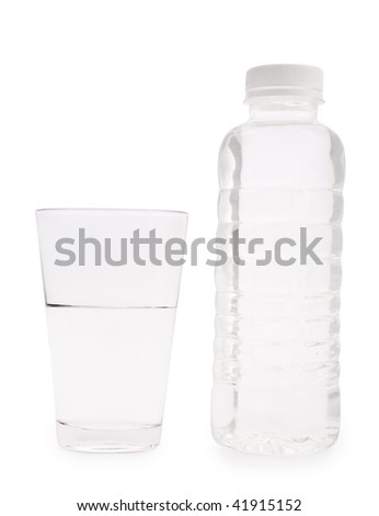 transparent plastical bottle and glass with water isolated - stock photo