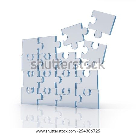 Transparent puzzles. - stock photo