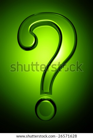 Transparent question mark with green background - stock photo
