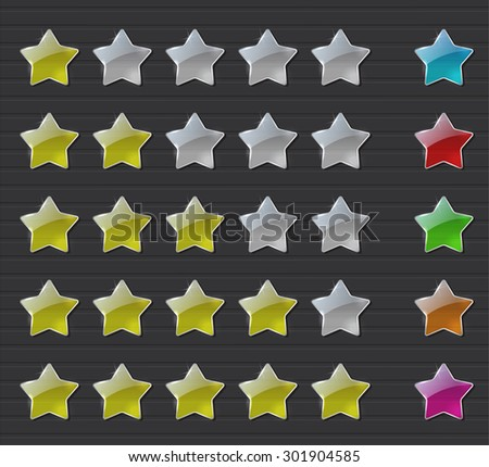 Transparent rating stars on dark background. Raster version - stock photo