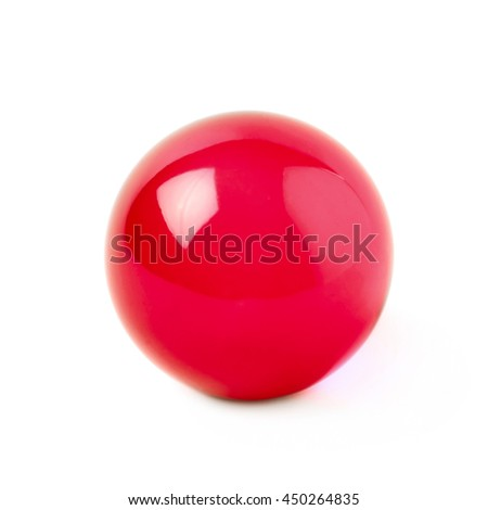 Transparent red glass ball sphere isolated over the white background - stock photo