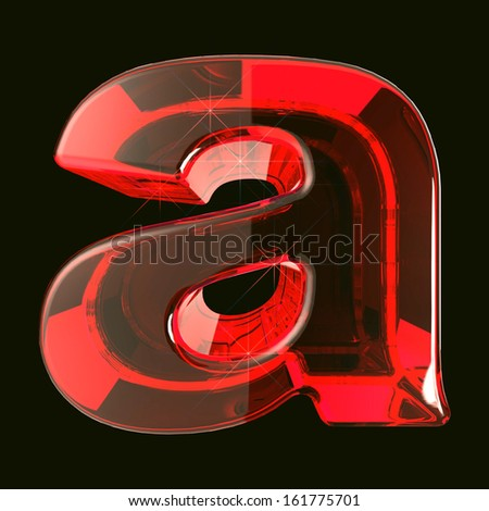 transparent ruby glare 3d letter a isolated on black - stock photo