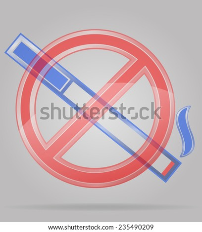 transparent sign no smoking illustration isolated on gray background - stock photo