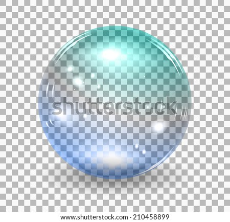 Transparent soap bubble.  realistic illustration on checkered background - stock photo