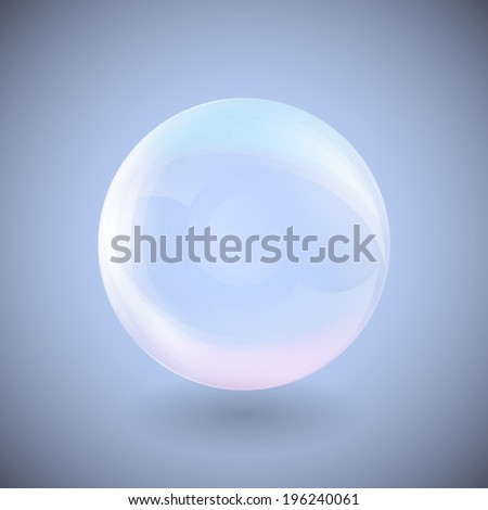 transparent sphere on a blue background illustration