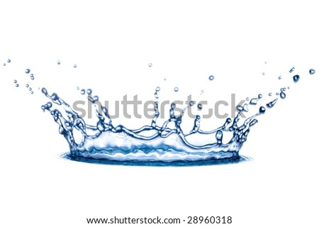 transparent splash of blue water on white background