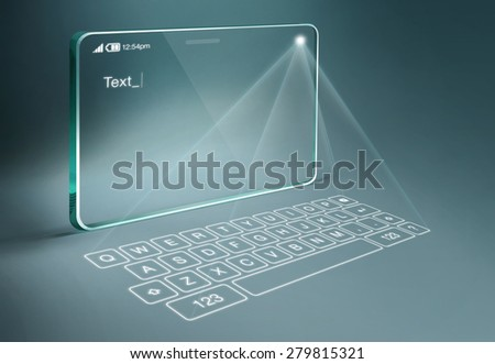 Transparent tablet with digital virtual keyboard. A projection keyboard is a form of computer input device whereby the image of a virtual keyboard is projected onto a surface. - stock photo