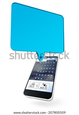 transparent text bubble and mobile phone on white background - stock photo