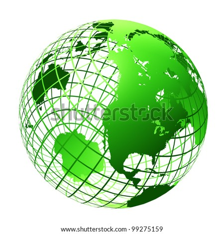 transparent the globe green color. An earth breadboard model. It is isolated on a white background - stock photo
