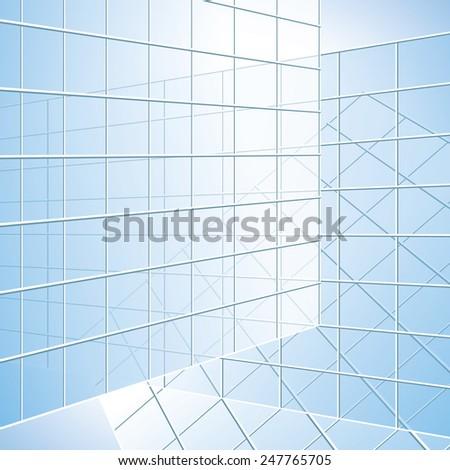 transparent wall - blue windows - stock photo