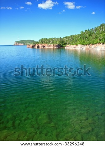 transparent water of lake Superior north shore, Tettegouche state park - stock photo