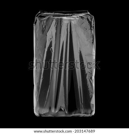 Transparent white plastic package isolated on black background. Ready for your design. Packaging collection. - stock photo