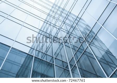 transparent windows texture of glass high tech modern building - stock photo