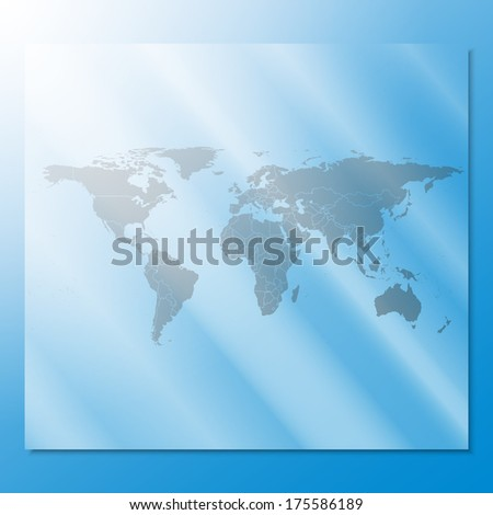 transparent world map illustration at an abstract blue background