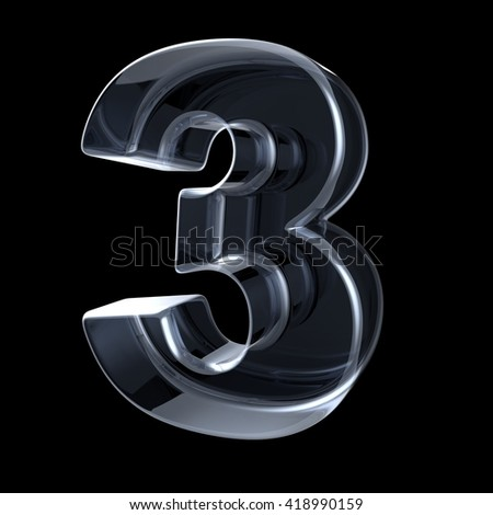 Transparent x-ray number 3 THREE. 3D render illustration on black background - stock photo