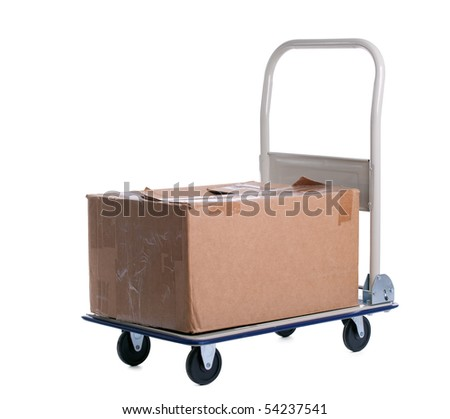 transport cart with one brown carton box