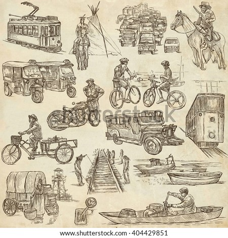 TRANSPORT. Collection of an hand drawn illustrations. Description, Full sized hand drawn illustrations - freehand sketches. Drawings on old paper background. - stock photo