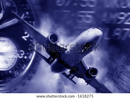 transport concept. Jet aircraft, airport arrival times and a watch - stock photo