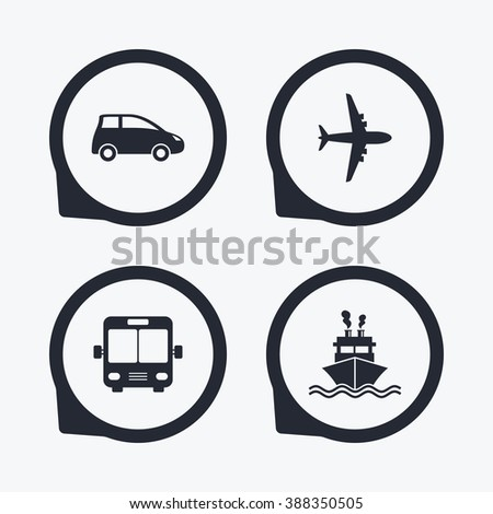 Transport icons. Car, Airplane, Public bus and Ship signs. Shipping delivery symbol. Air mail delivery sign. Flat icon pointers. - stock photo