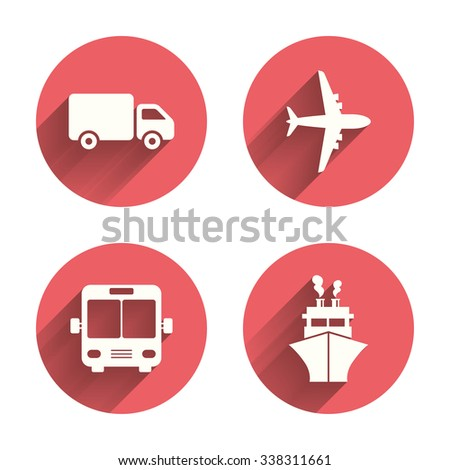 Transport icons. Truck, Airplane, Public bus and Ship signs. Shipping delivery symbol. Air mail delivery sign. Pink circles flat buttons with shadow.
