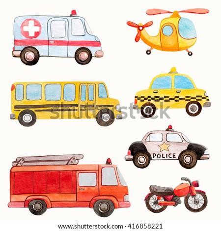transport kids watercolor illustrations - stock photo