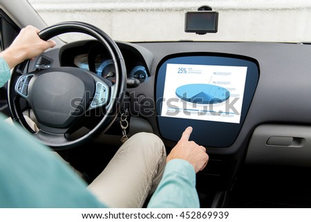 transport, modern technology and people concept - close up of man driving car and pointing finger to chart on board computer screen