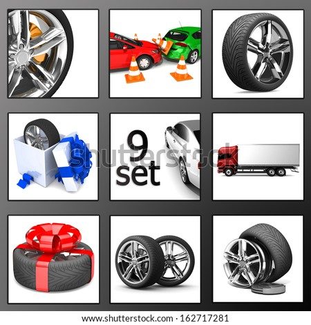 Transport set. The optimal set of vehicles. 3d illustration. Collection  1 - stock photo