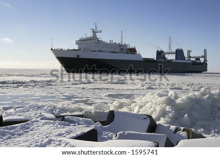Transport ship in the frozen sea