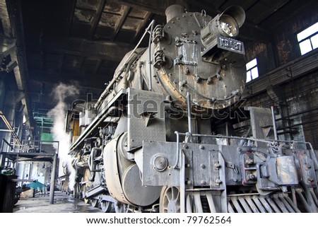 Transport steam train - stock photo