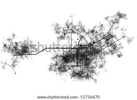 Transport System Map Blueprint of a City - stock photo
