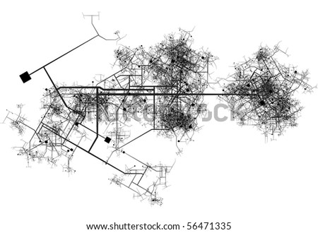 Transport System Map Blueprint of a City - stock photo