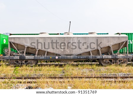 Transport train compartment taken on the front view on sunny afternoon - stock photo