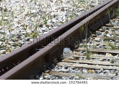 transport, train rails, detail of railways in Spain - stock photo