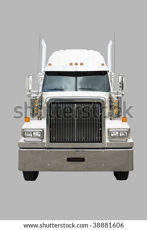 Transport truck isolated on white with clipping path - stock photo