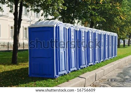 transportable public street toilet - stock photo