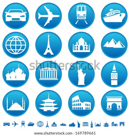 Transportation and sights icons. Raster version of EPS image 28053949 - stock photo
