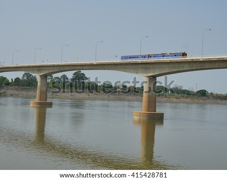 Transportation by Train From Thailand to Lao across Thai-Lao Friendship Bridge